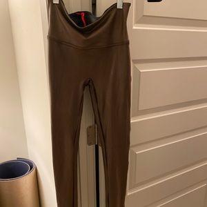 Spanx faux leather leggings brown- bronze metal